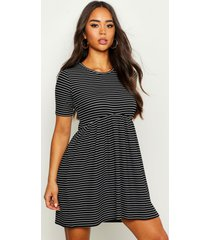 rib crew neck oversized smock dress, black
