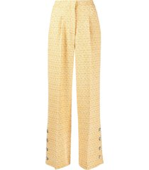 alessandra rich tweed high-waist trousers - yellow
