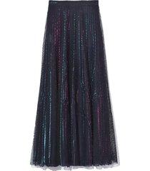 a-line mesh skirt in light blue pink