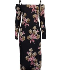 long sleeve off shoulder print dress