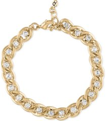 rachel rachel roy gold-tone link & crystal flex bracelet