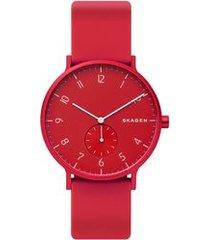 relógio skagen unissex colors vermelho