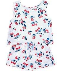 little girl's 2-piece cherry-print tank & shorts set