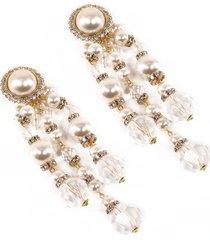 alessandra rich pearl cascade clip on earrings