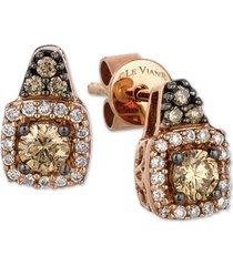 le vian chocolatier diamond halo cluster stud earrings (3/8 ct. t.w.) in 14k gold