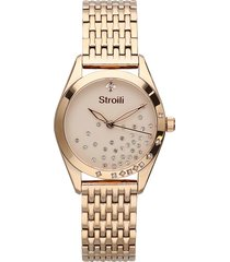 orologio solo tempo con cinturino e cassa in acciaio dorato per donna