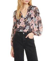 women's rebecca taylor jardin keyhole neck blouse, size 6 - blue