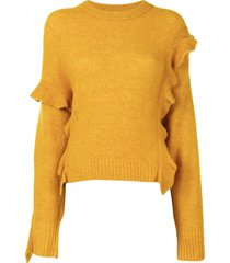 3.1 phillip lim cropped ruffled jumper - yellow