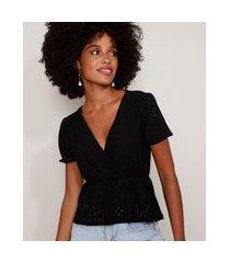 blusa de laise feminina com transpasse manga bufante decote v preta