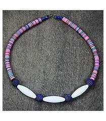 recycled glass and plastic beaded necklace, 'eco colors' (ghana)