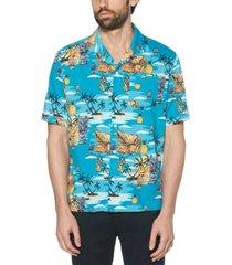 original penguin men's tiki classic-fit tropical-print camp shirt