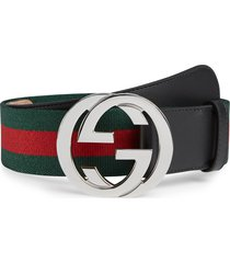 men's gucci interlocking g logo stripe web & leather belt, size 80 eu - black