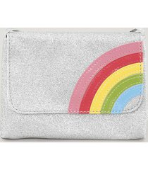 bolsa infantil arco íris com glitter prateada