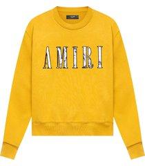 paisley core logo crewneck sweatshirt gold yellow