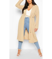 plus ruched belted duster coat, stone