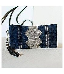 wool wristlet, 'midnight wave' (mexico)