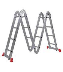 escada multifuncional worker 428140 articulada 8 em 1 4x4 alumínio