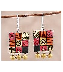 ceramic chandelier earrings, 'creative fusion' (india)