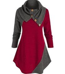 plus size ribbed bicolor foldover round hem sweater