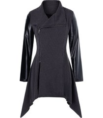 plus size asymmetric pu leather panel zip knitted coat