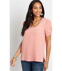 maurices womens rose ruched sleeve blouse pink