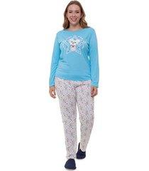 pijama  longo plus size azul dog feminino adulto luna cuore