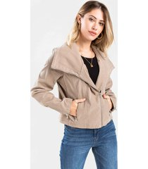 june wide lapel moto jacket - taupe