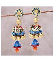 ceramic dangle earrings, 'festive glamour' (india)