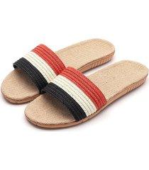 moda de verano par lencería del hogar zapatillas pantuflas de algodón y lino.