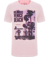 camiseta masculina estampa los angeles venice - rosa