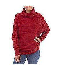 100% baby alpaca sweater, 'holiday warmth in red' (peru)