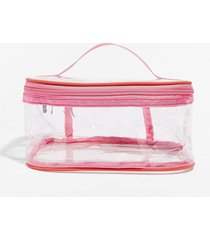 womens on the go clear cosmetic bag - pink