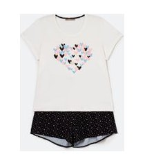 pijama curto em viscolycra estampa corações curve & plus size | ashua curve e plus size | branco | eg