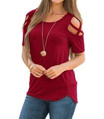 camiseta de verano mujer 2019 casual manga corta tops sueltos camiseta-rojo