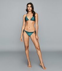 reiss elfrieda - self tie bikini briefs in green, womens, size 10