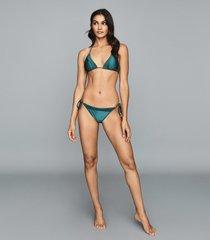reiss elfrieda - self tie bikini briefs in green, womens, size 10