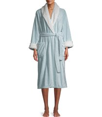 saks fifth avenue women's faux fur-trim chevron-print robe - mint - size l