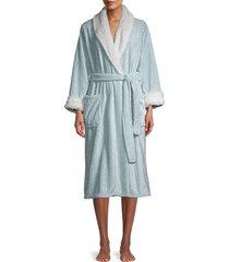 saks fifth avenue women's faux fur-trim chevron-print robe - mint - size m