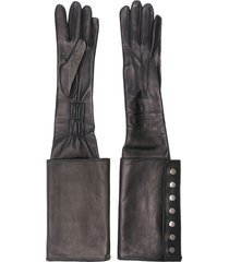 manokhi long buttoned cuff gloves - black