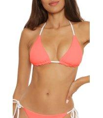 women's becca fine line reversible triangle bikini top, size small - pink
