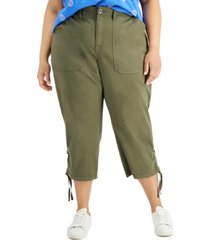 style & co plus size cropped cargo pants, created for macy's