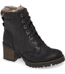 women's steve madden comfort faux fur trim bootie, size 8.5 m - black