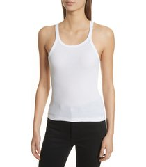 women's re/done ribbed tank top, size medium - white