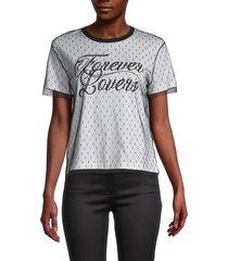 redvalentino women's mesh slogan t-shirt - bianco nero - size s