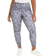 ideology plus size camo-print side-pocket 7/8 leggings, created for macy's