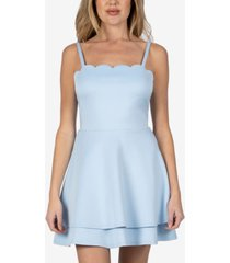 speechless juniors' scalloped double-layer fit & flare dress