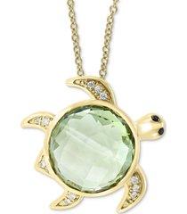 "effy green quartz (7 ct. t.w.) & diamond (1/20 ct. t.w.) turtle 18""pendant necklace in 14k gold"