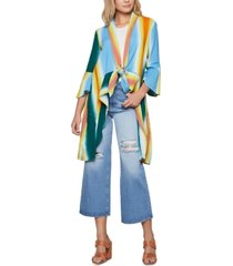 bcbgeneration cotton tie-dyed cover-up jacket