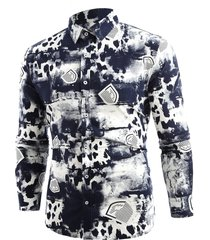 button up splash-ink shield printing shirt