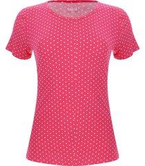 camiseta mujer con lunares color rosado, talla l